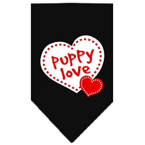 Puppy Love Screen Print Bandana Black Small